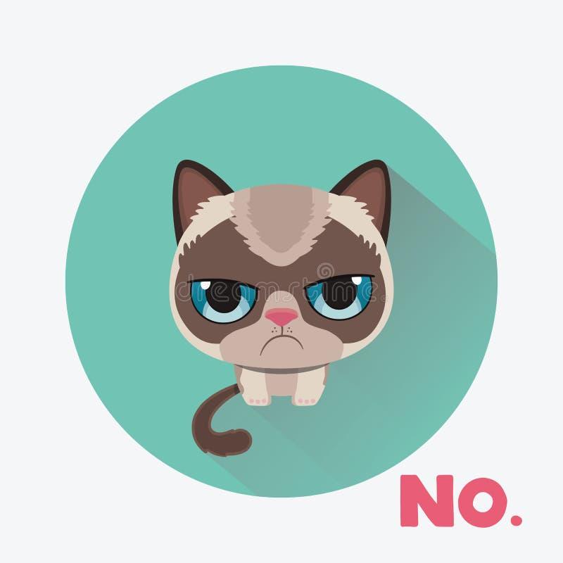 在物质设计样式的逗人喜爱的哀伤的脾气坏的猫 向量例证