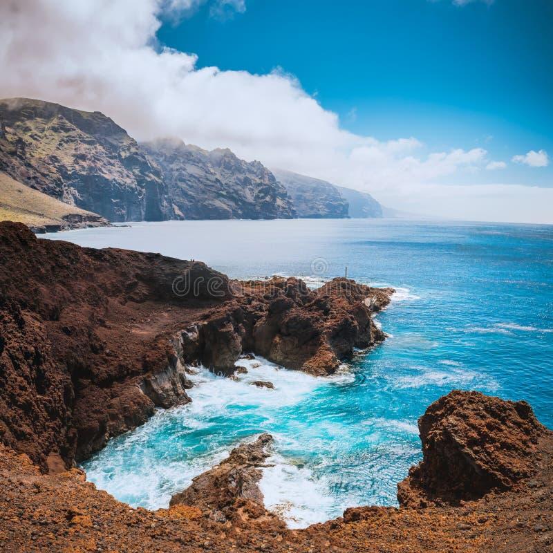 在特内里费岛海岛的美妙的自然水池 免版税库存图片