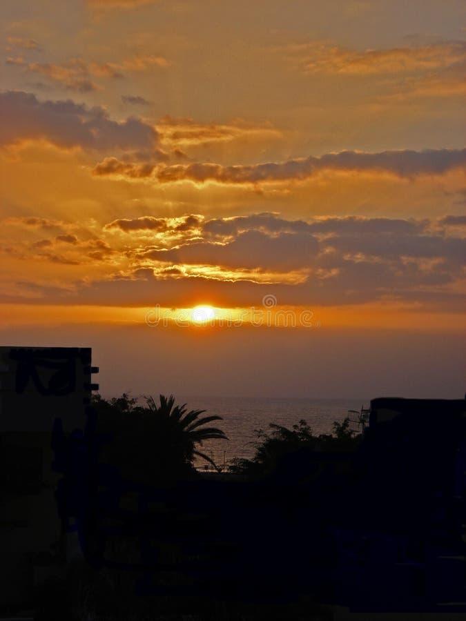 在特内里费岛的日落 图库摄影