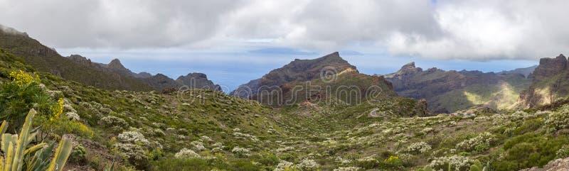 在特内里费岛,加那利群岛的全景风景视图 库存图片