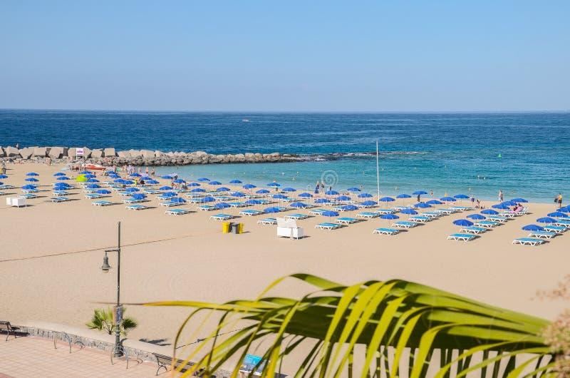 在特内里费岛海岛上的美丽的含沙De Las Vistas海滩 免版税图库摄影