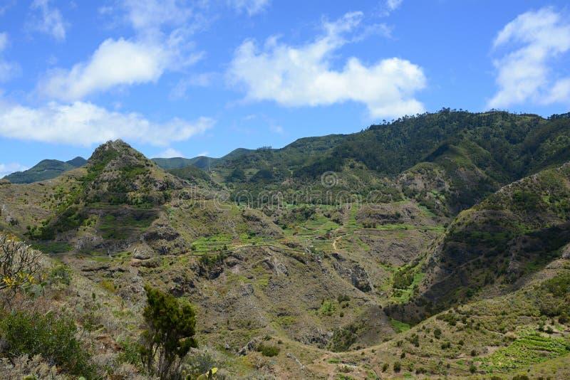 在特内里费岛,加那利群岛,西班牙,欧洲的山脉 免版税库存照片