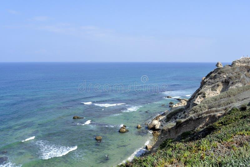 在特拉维夫附近的Apollonia海滩 免版税库存照片