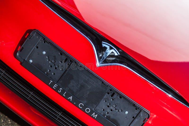 在特斯拉汽车的特斯拉商标 免版税库存图片