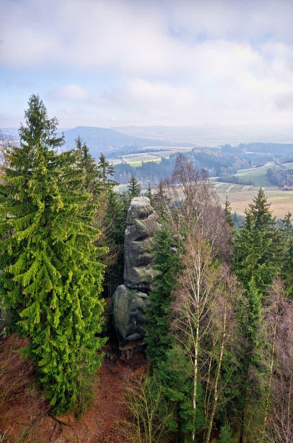 在特普利采,捷克附近的岩石镇 免版税库存照片