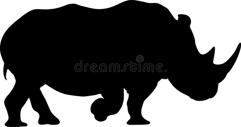 在犀牛的剪影的看法 库存例证