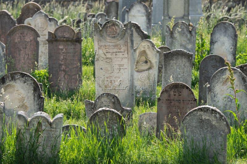 在犹太公墓的许多古老墓碑 免版税库存照片