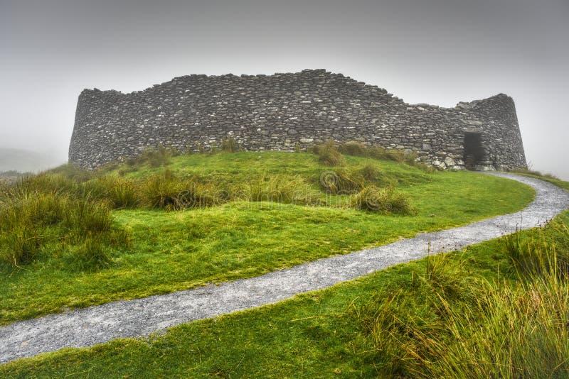 在狂放的大西洋方式沿海路线的Staigue堡垒,凯里郡,爱尔兰 库存图片