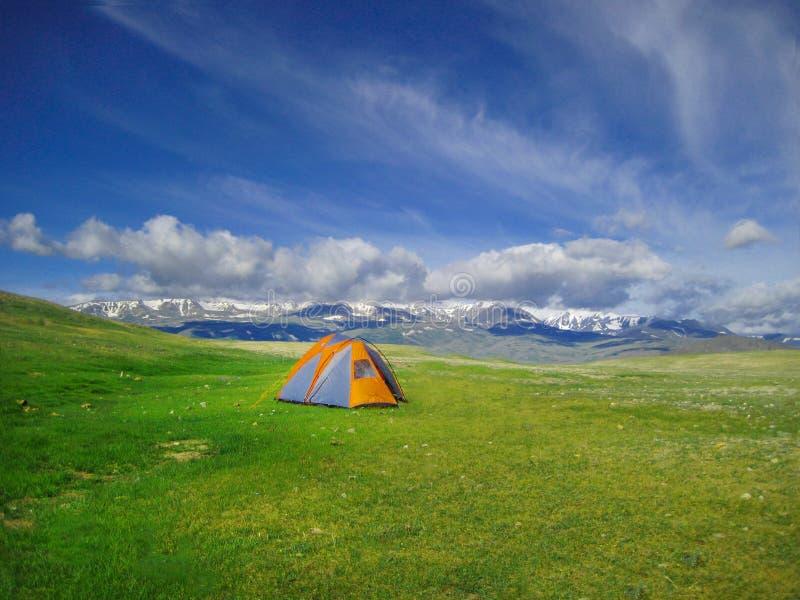 在狂放野营的野营的帐篷,阿尔泰山,蒙古西部 图库摄影