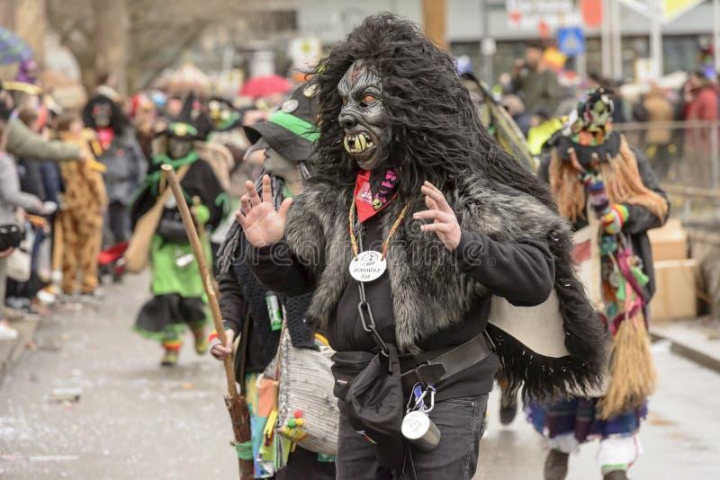 在狂欢节队伍的大猩猩面具,斯图加特 库存照片