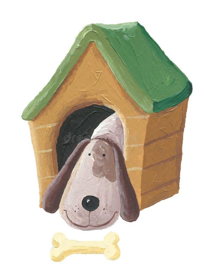 在狗屋的逗人喜爱的狗 向量例证