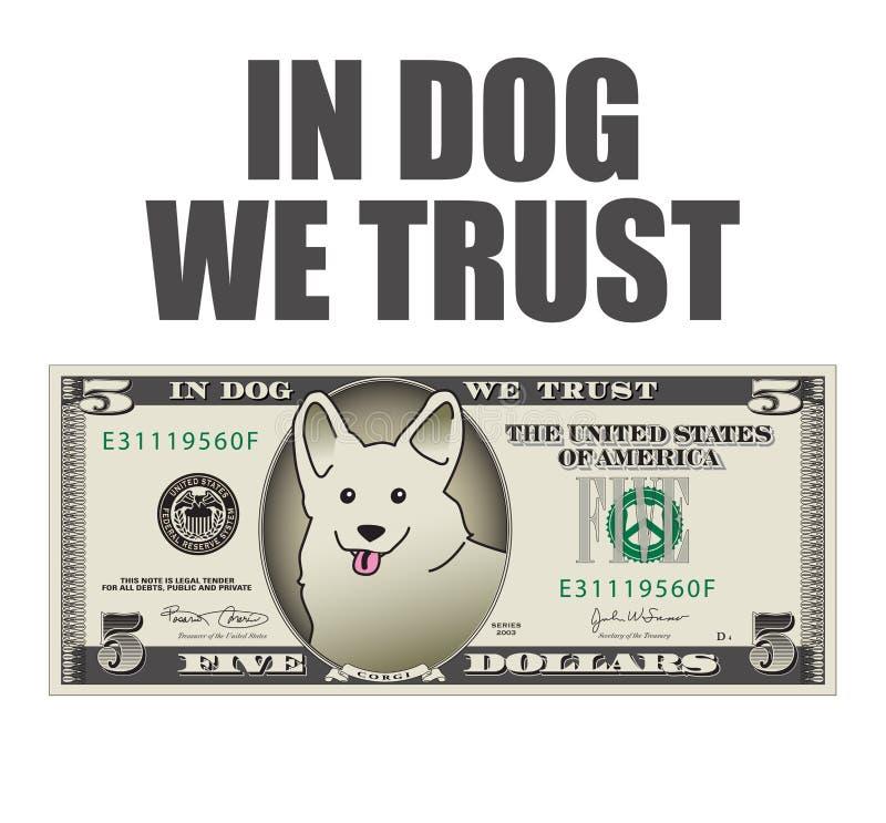 在狗我们信任5美金 库存例证
