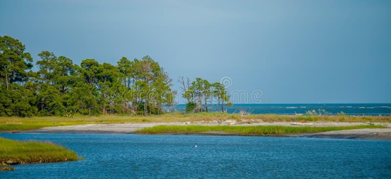 在狩猎海岛南卡罗来纳附近的自然场面 免版税库存图片