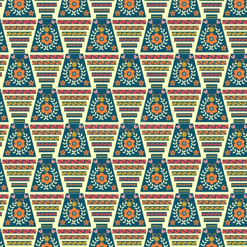 在独特的五颜六色的种族几何和花卉样式 库存例证