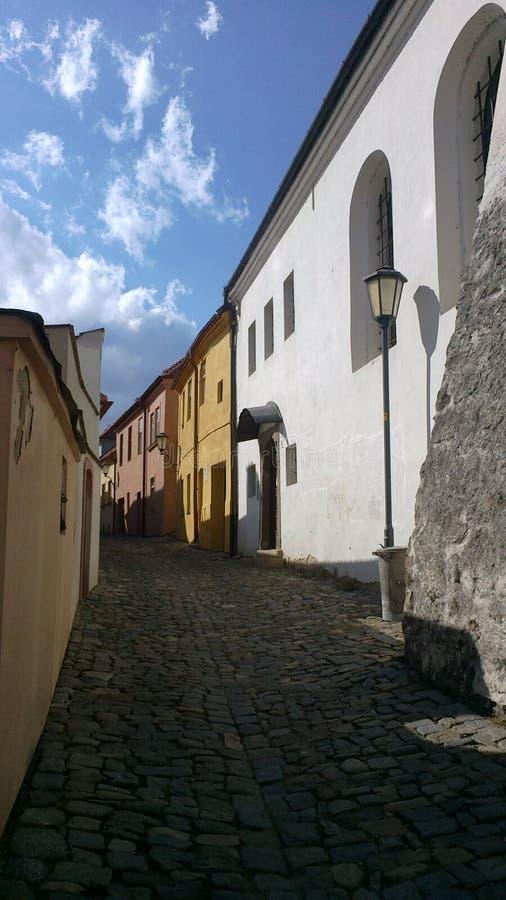 在狭窄的街道的犹太教堂在镇Trebic,捷克的犹太处所 免版税图库摄影