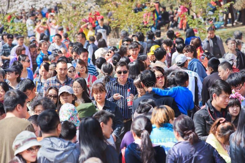 在玉渊潭公园,北京,中国的人群 免版税库存照片