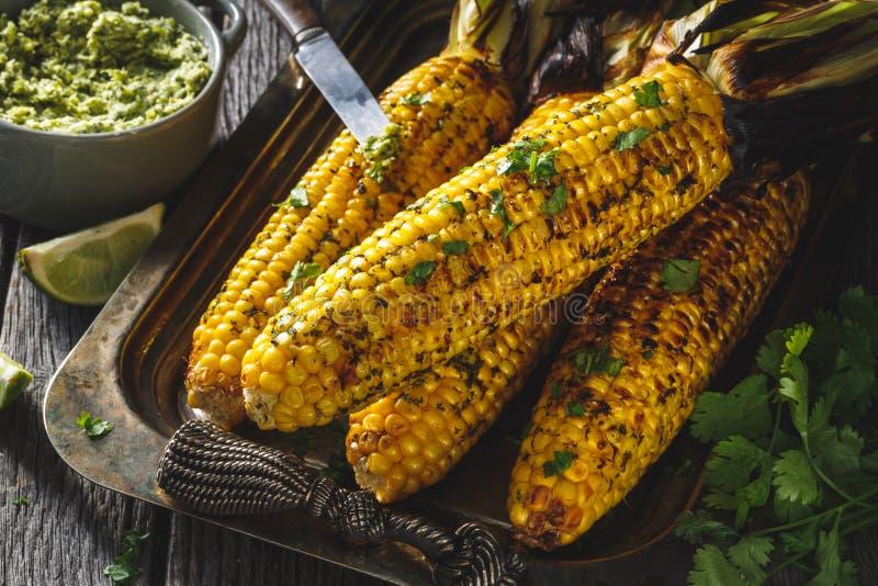 在玉米棒的烤玉米在烤肉用草本黄油 免版税库存照片