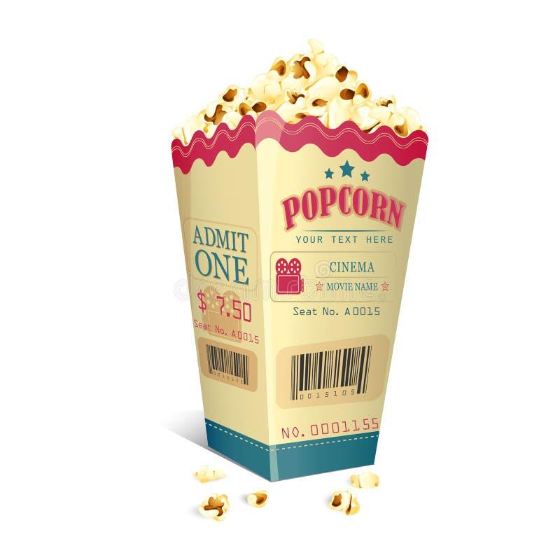 在玉米花箱子打印的电影票 皇族释放例证