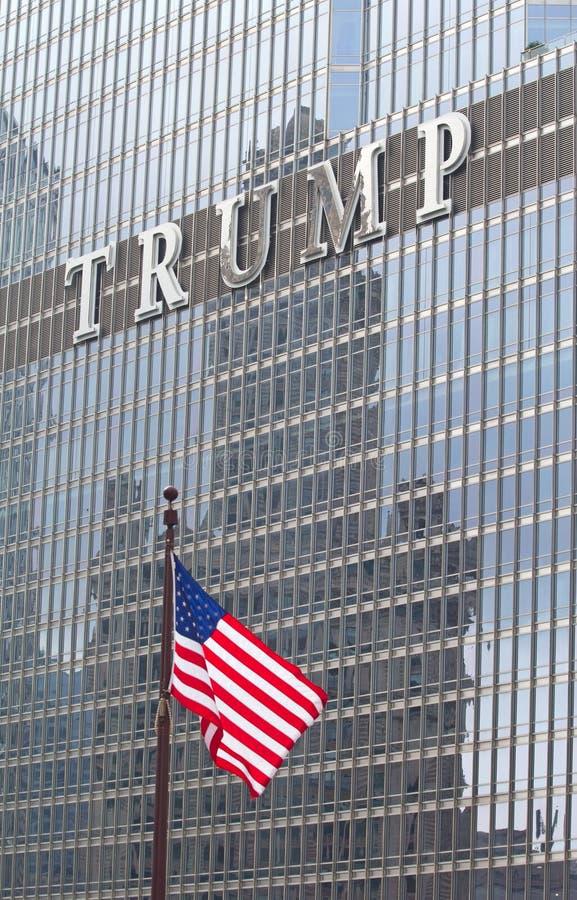 在王牌塔的商标在芝加哥 免版税库存照片