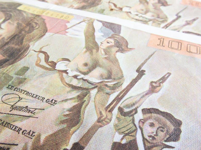 在玛丽安的焦点一百法郎钞票 库存照片
