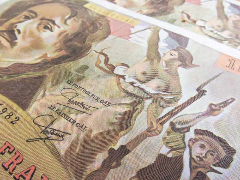在玛丽安的焦点一百法郎钞票 免版税库存图片