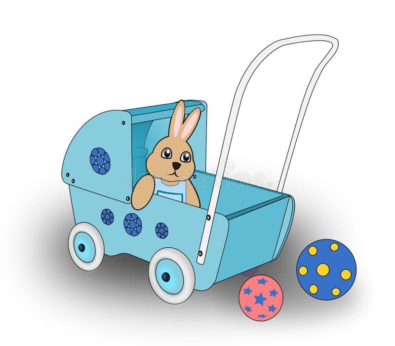 在玩偶购物车的兔子。 向量例证