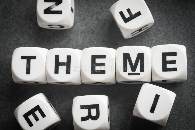 在玩具立方体的词题材 免版税库存图片