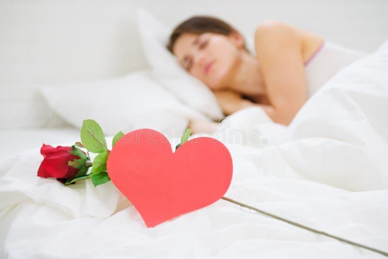在玫瑰色和明信片最近的休眠的妇女的特写镜头 库存照片