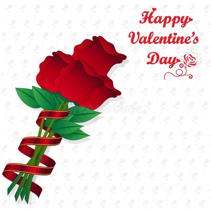 在玫瑰色样式背景的红色玫瑰 库存例证