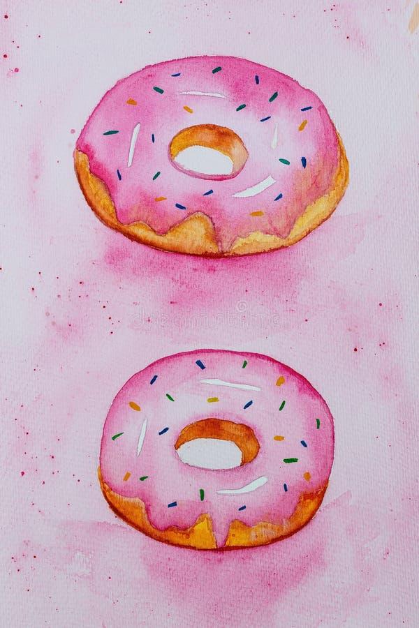 在玫瑰色背景的桃红色水彩油炸圈饼 垂直 皇族释放例证