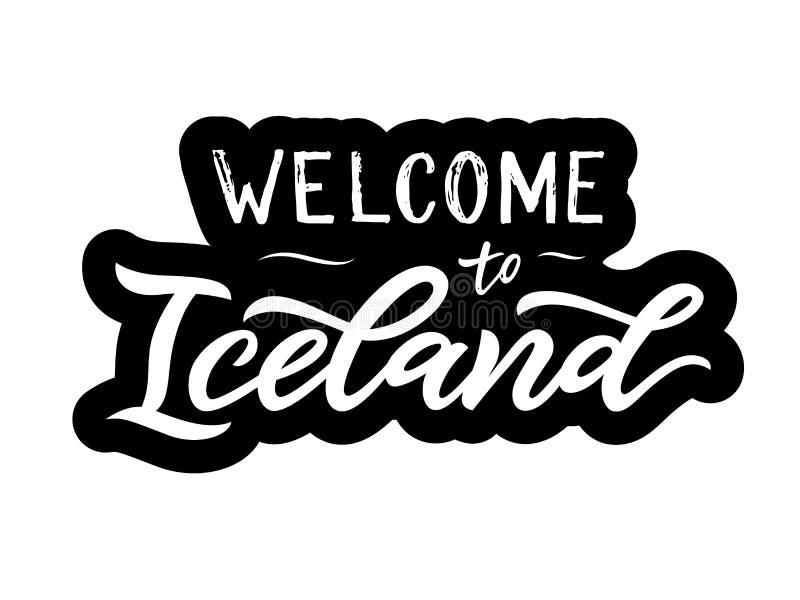 在现代书法欢迎上写字的手对冰岛词组 向量例证