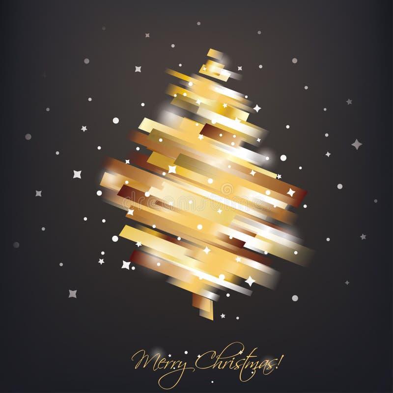 在现代充满活力的样式的金黄圣诞树 库存例证