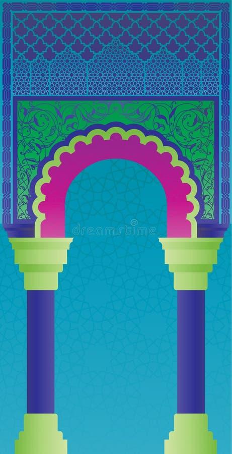 在现代凉快的颜色的摩洛哥门门面 皇族释放例证