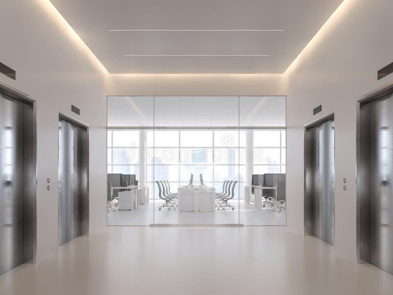 在现代办公室3d前面的电梯大厅回报 皇族释放例证