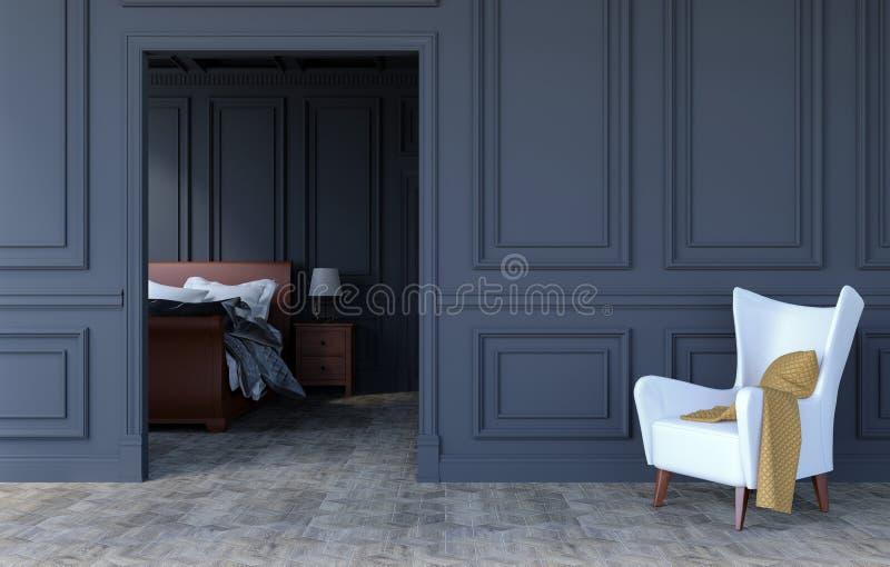 在现代古典设计的豪华卧室内部与在空的墙壁,3D上的扶手椅子和拷贝空间翻译 向量例证