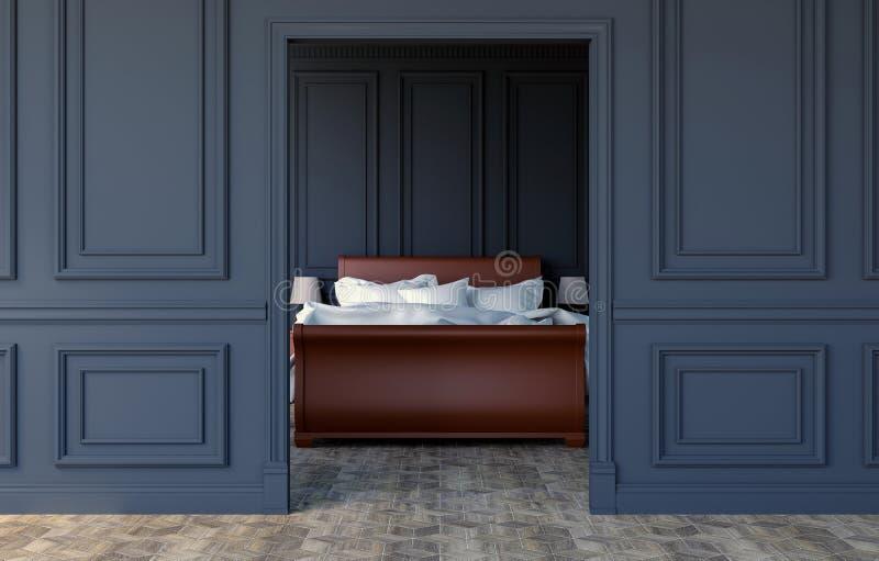 在现代古典设计,3D的豪华卧室内部翻译 免版税库存照片