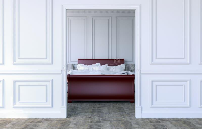 在现代古典设计,3D的豪华卧室内部翻译 库存例证