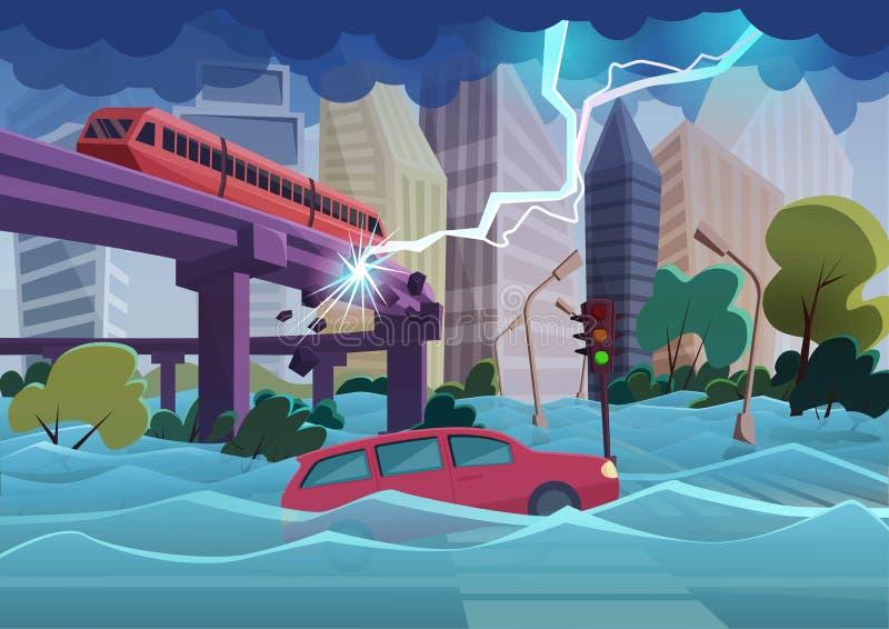 在现代城市充斥并且猛冲自然灾害 漂浮在水中的城市洪水和汽车 巨大的闪电打破 向量例证