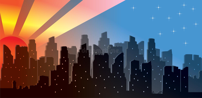 在现代城市地平线的向量日出 库存例证