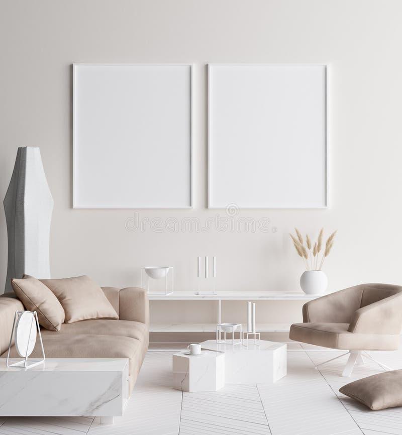 在现代家庭内部的假装海报框架 斯堪的纳维亚样式 库存照片