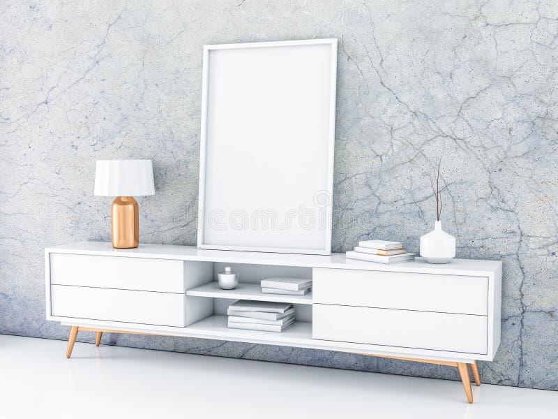 在现代局的白色海报框架身分与混凝土墙的现代内部的 库存例证