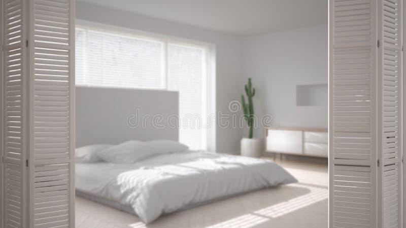 在现代斯堪的纳维亚最低纲领派卧室的白色折叠门开头,白色室内设计,建筑师设计师概念,迷离 向量例证