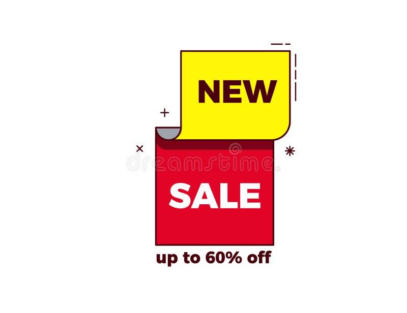 在现代时髦几何设计的新的销售词与明亮的红色和黄色颜色和稀薄的概述 传染媒介横幅,标记,标签 向量例证