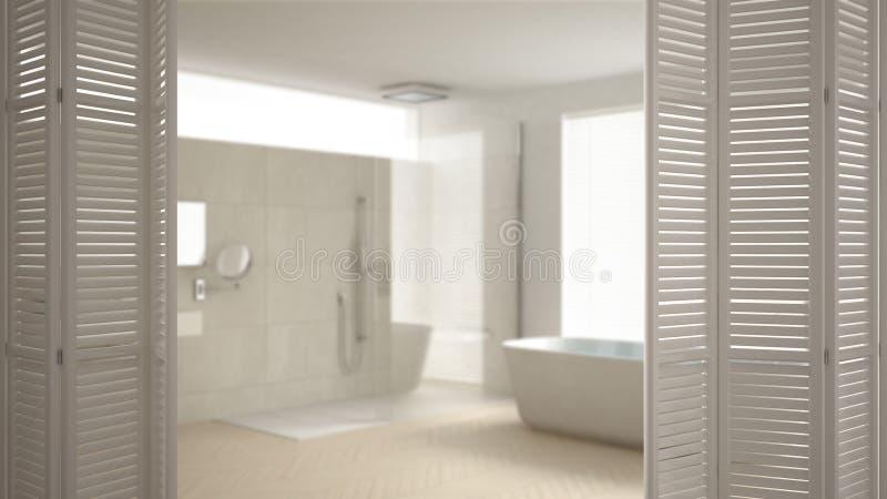 在现代最低纲领派卫生间的白色折叠门开头,白色室内设计,建筑师设计师概念,迷离背景 库存照片