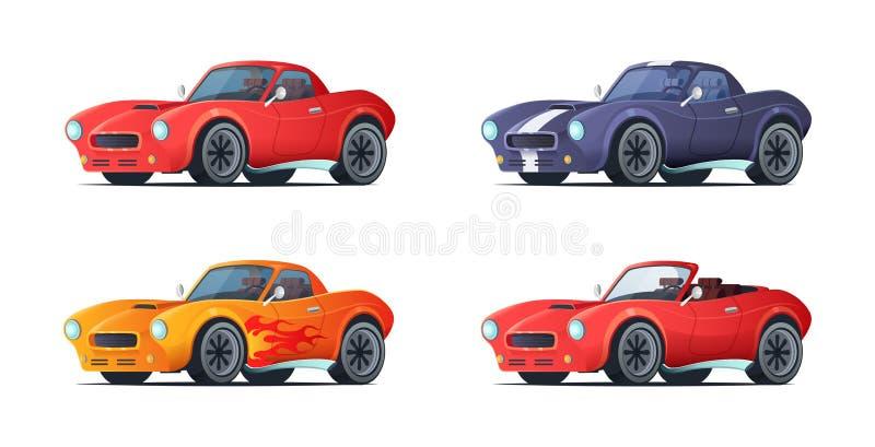 在现代样式的动画片sportcar设计 肌肉汽车不同的变异 也corel凹道例证向量 向量例证