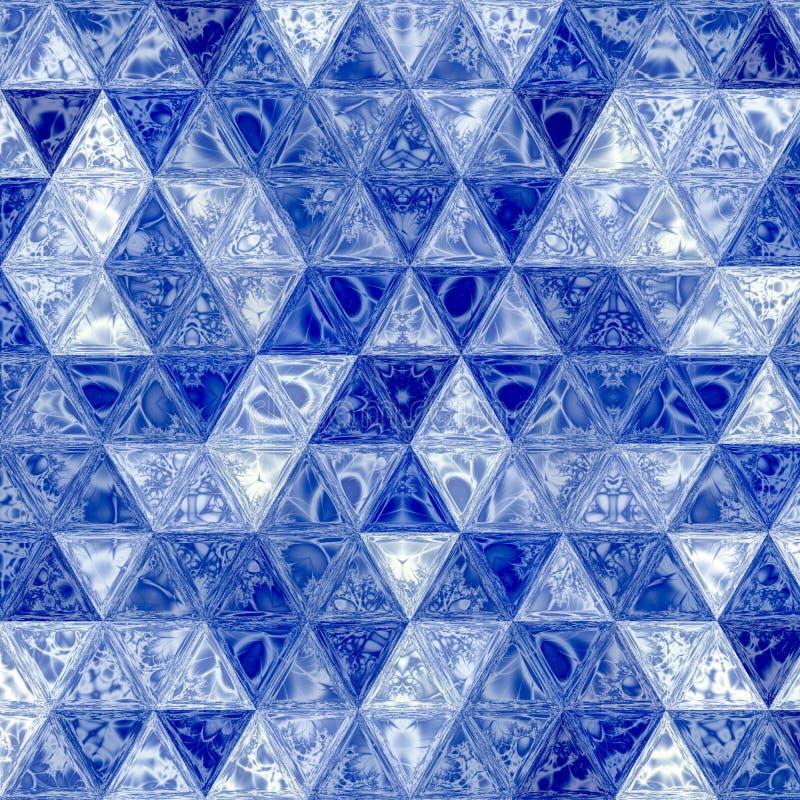 在现代样式的抽象蓝色三角背景与彩色玻璃的作用 库存例证