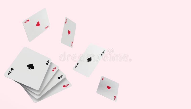 在现代桃红色浆糊背景的下跌的啤牌纸牌赌博娱乐场概念 库存例证