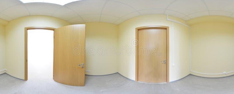 360在现代空的公寓内部,程度无缝的全景的全景视图 库存照片