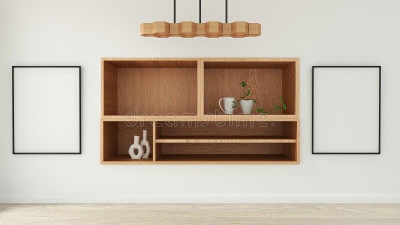 在现代空的室日本风格,最小的设计的假装内阁 3d?? 皇族释放例证