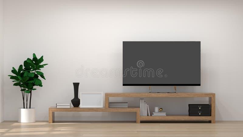 在现代空的室3d例证的大模型模板内部背景木内阁与在墙壁上的电视吊,家设计, backgr 皇族释放例证